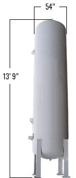 1190 Gallons LP Vertical Bulk Tank dimensions