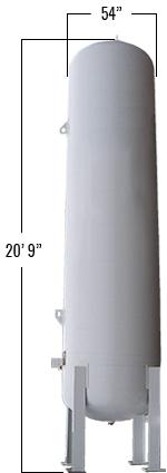 1900 Gallons LP Vertical Bulk Tank dimensions
