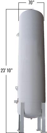 3900 Gallons LP Vertical Bulk Tank dimensions