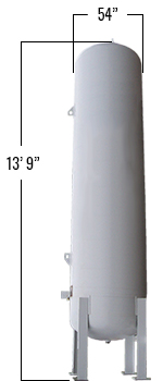 1190 Gallons LP Vertical Bulk Tank dimensions